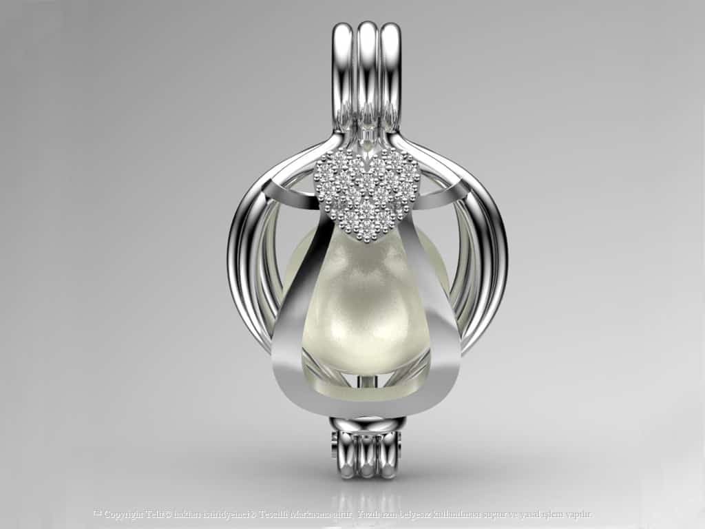 Beyaz Swarovski Taşlı Tek Kalp Kolye Seti