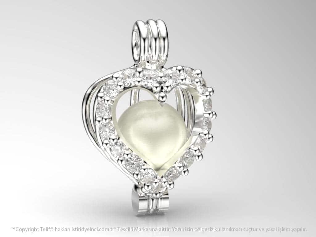 Beyaz Swarovski Taşlı Okyanusun Kalbi Kolye Seti